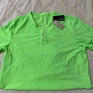 NWT men's bright green henley